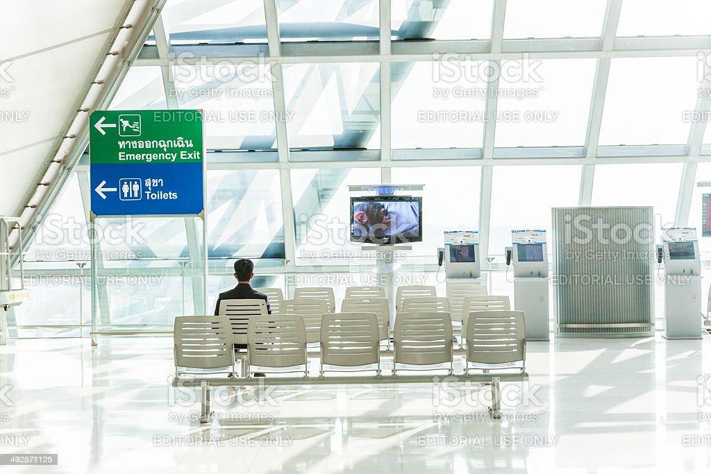 people wait at gate at Suvarnabhumi International Airport stock photo