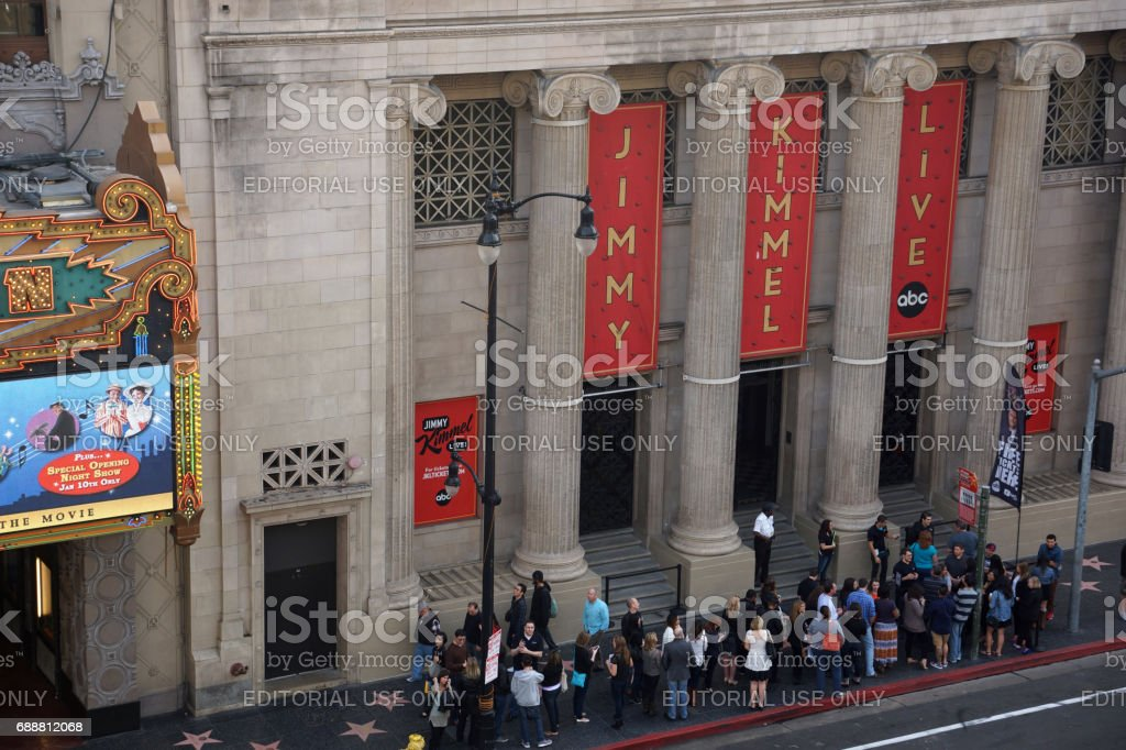 people wait in line outside Jimmy Kimmel Live show stock photo