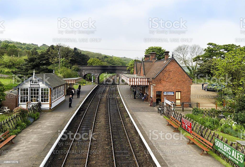 People waiting at Weybourne Station, Norfolk stock photo