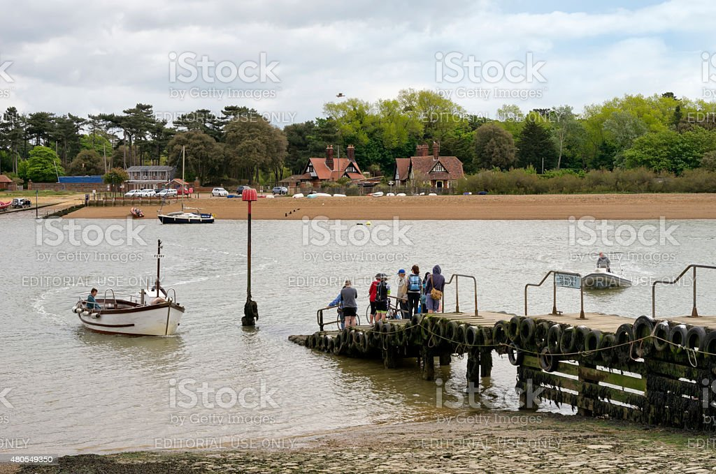 People waiting for Felixstowe Ferry stock photo
