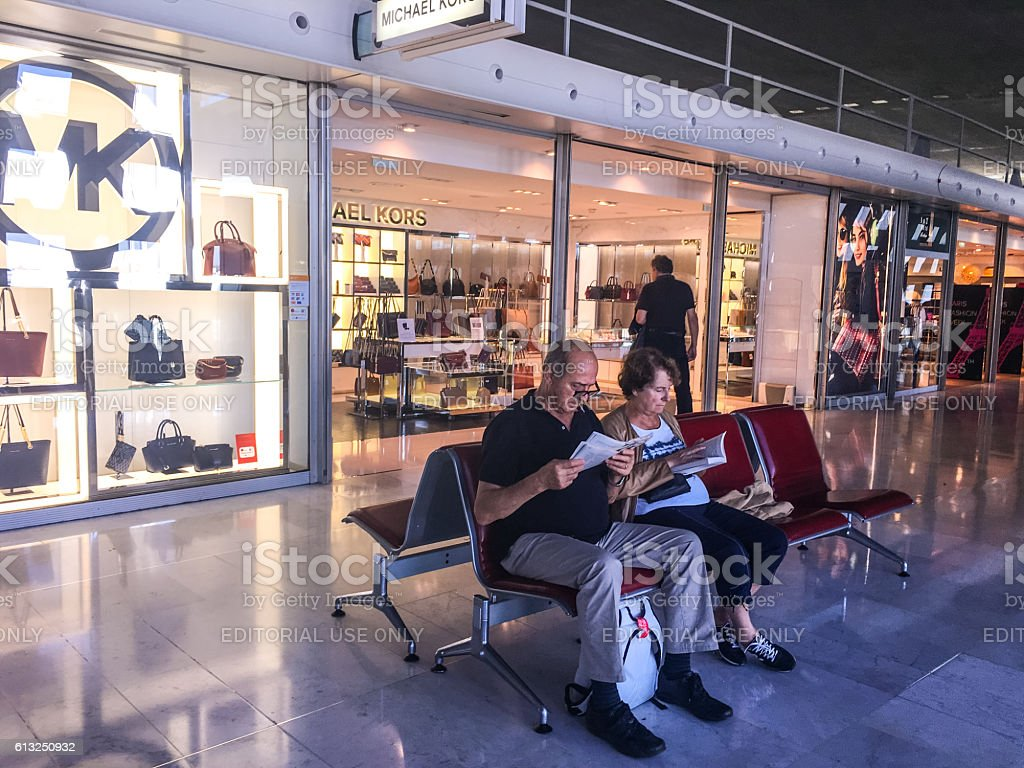 People waiting for flight at Roissy airport, Paris stock photo