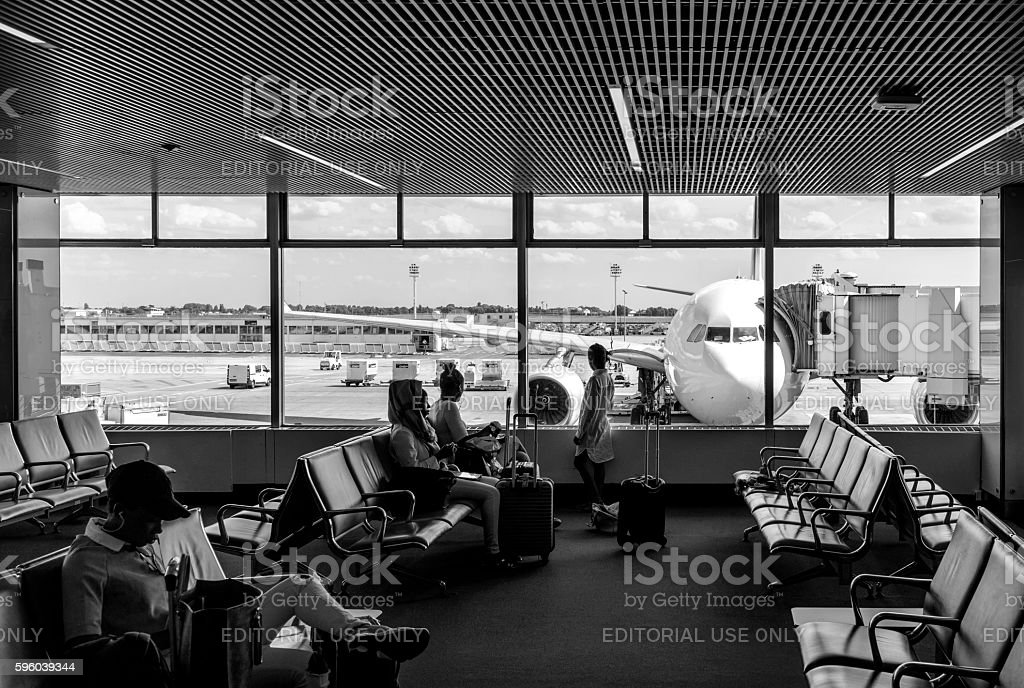 People waiting for flight in Orly Airport Lounge, Paris stock photo