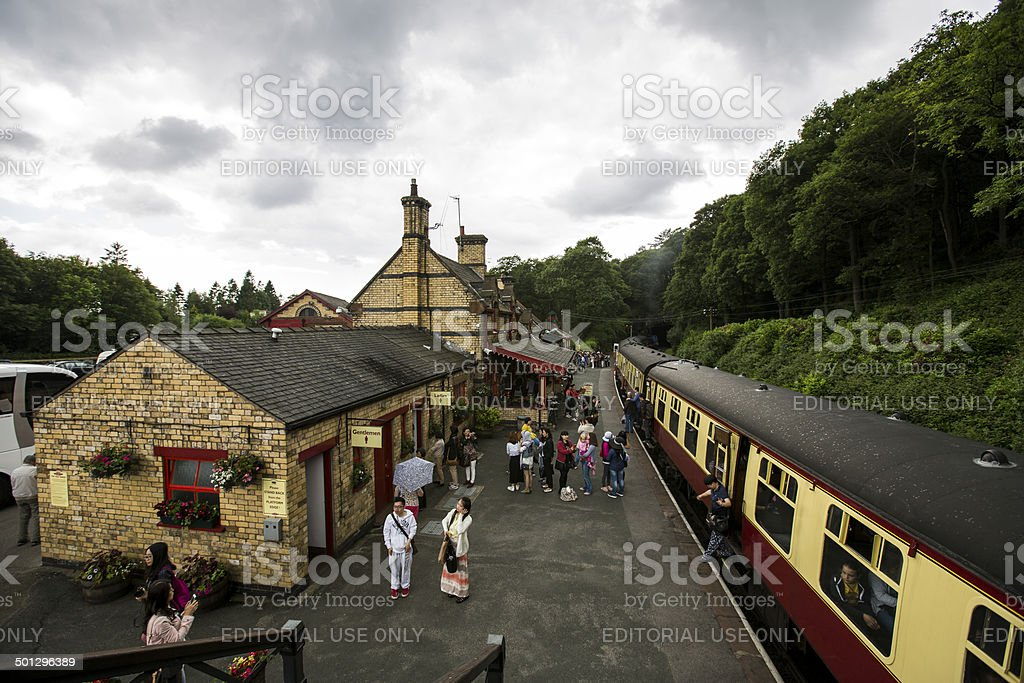 People waiting for Lakeside and Haverthwaite Railway train. stock photo