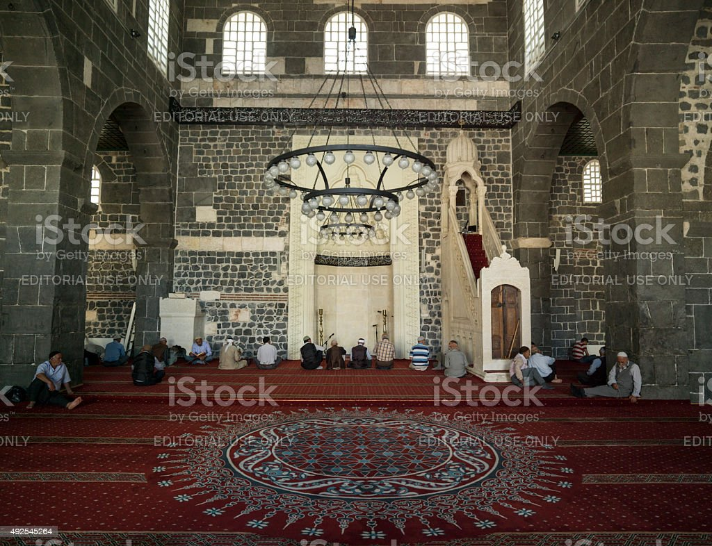 People Waiting For Payer Time Inside Ulu Cami In Diyarbakir stock photo