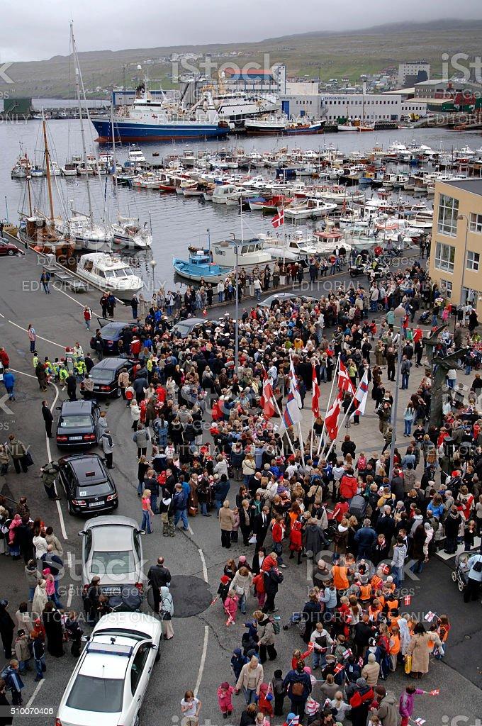 People waiting for Queen Margarethe II, Torshavn, Faroe Islands, Denmark stock photo