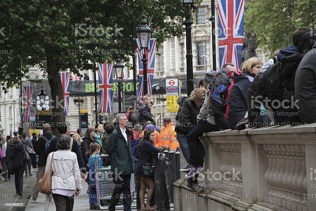 Persone in attesa per l corsa di 10 km foto stock royalty-free