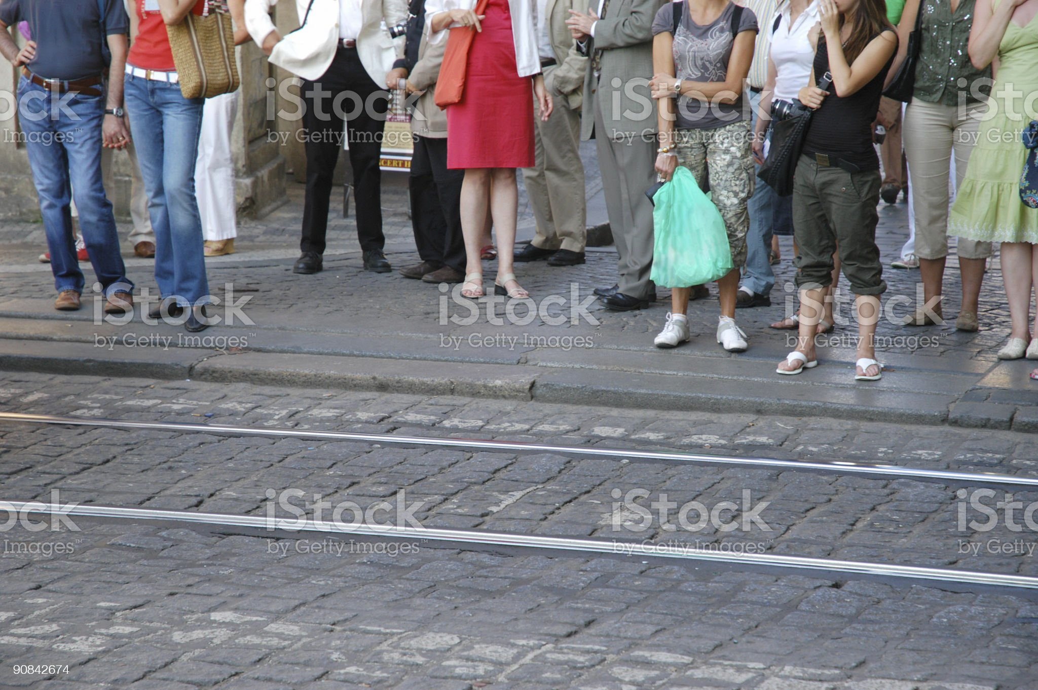 People Waiting for Train/Trolly royalty-free stock photo