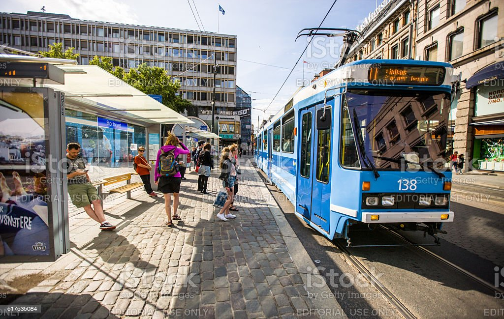 People waiting for Tramway in Oslo, Norway stock photo