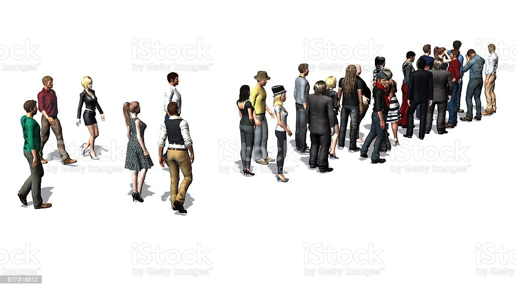 People waiting in line -  isolated on white background stock photo
