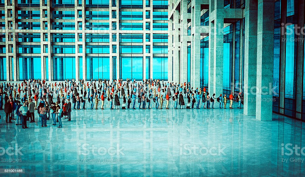 People waiting in line, office building stock photo