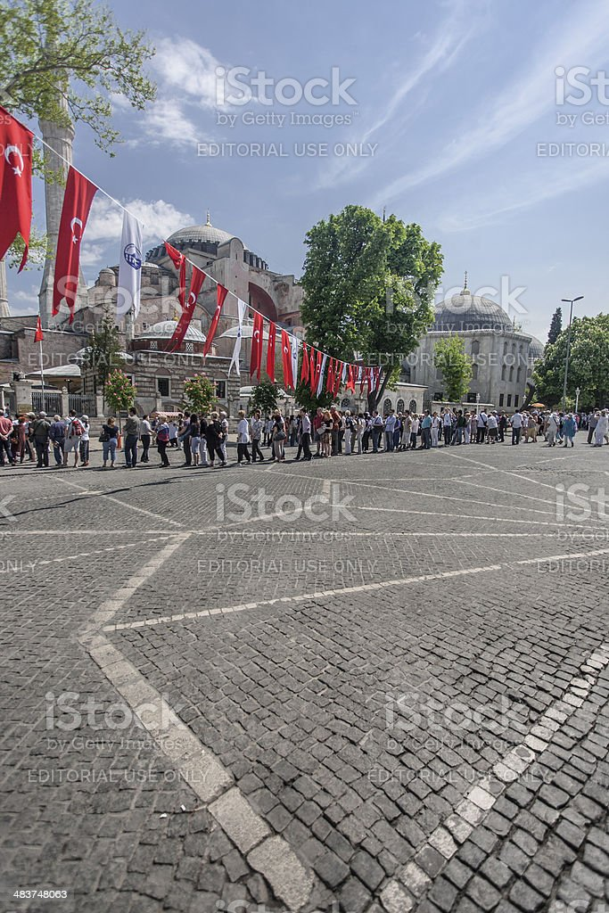 People waiting in line. stock photo