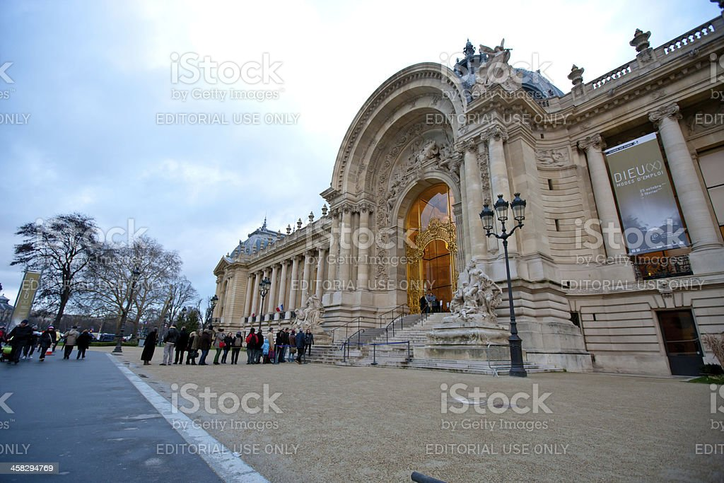People waiting in line to enter Museum, Paris royalty-free stock photo