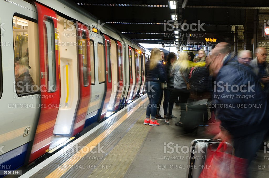 People waiting in the London Subway station stock photo