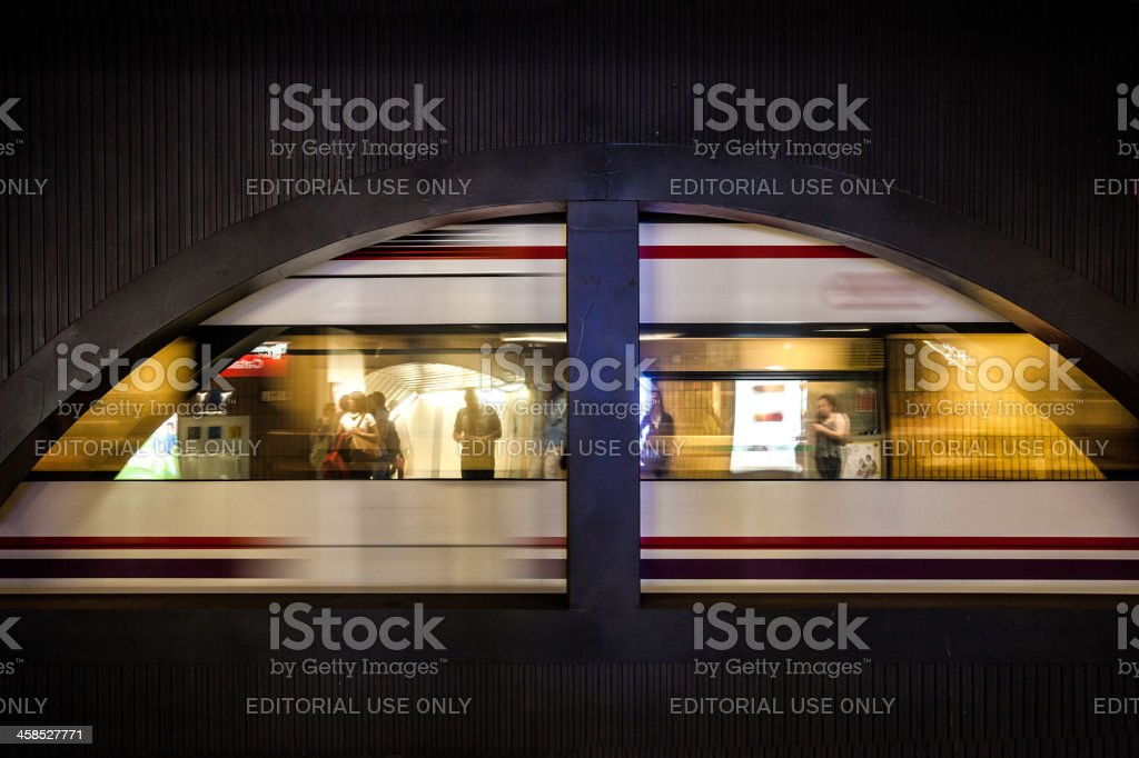 People waiting subway train in Barcellona royalty-free stock photo
