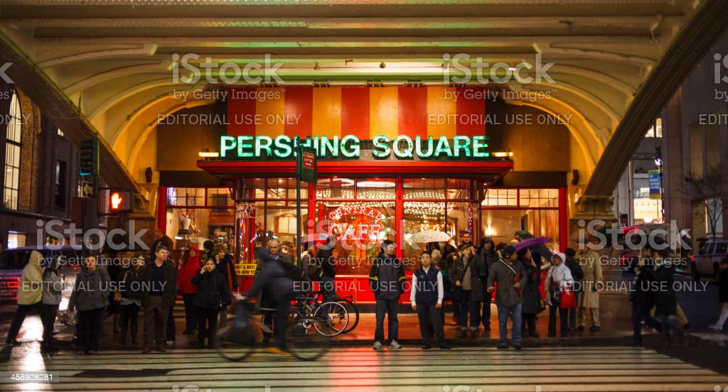 People Waiting to Cross 42nd Street Pershing Square Manhattan stock photo