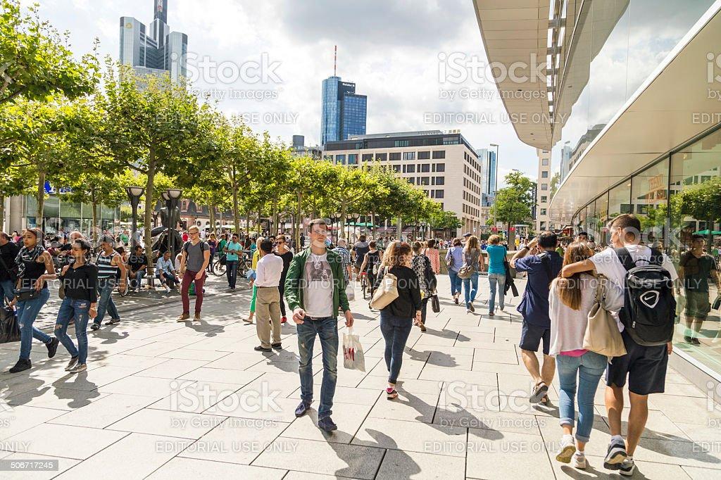 people walk along the Zeil in Frankfurt stock photo