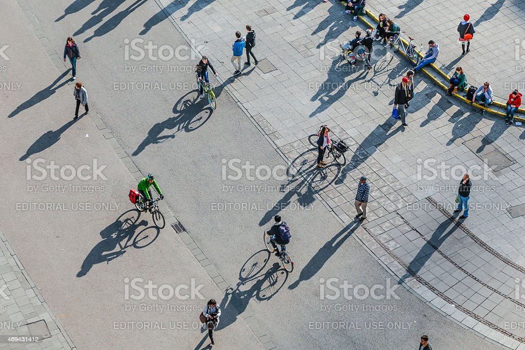 people walk along the Zeil in Midday in Frankfurt stock photo