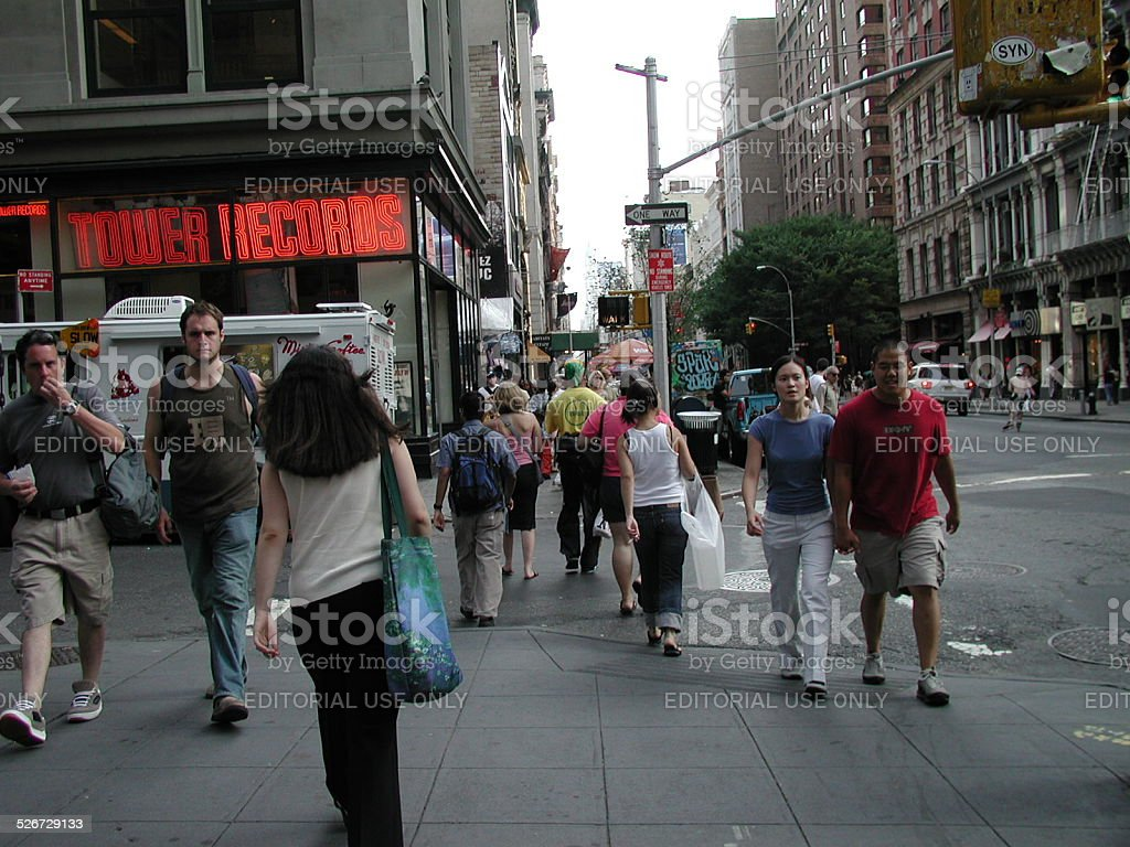 People Walk by Tower Records 20 E 4th Street. NYC stock photo