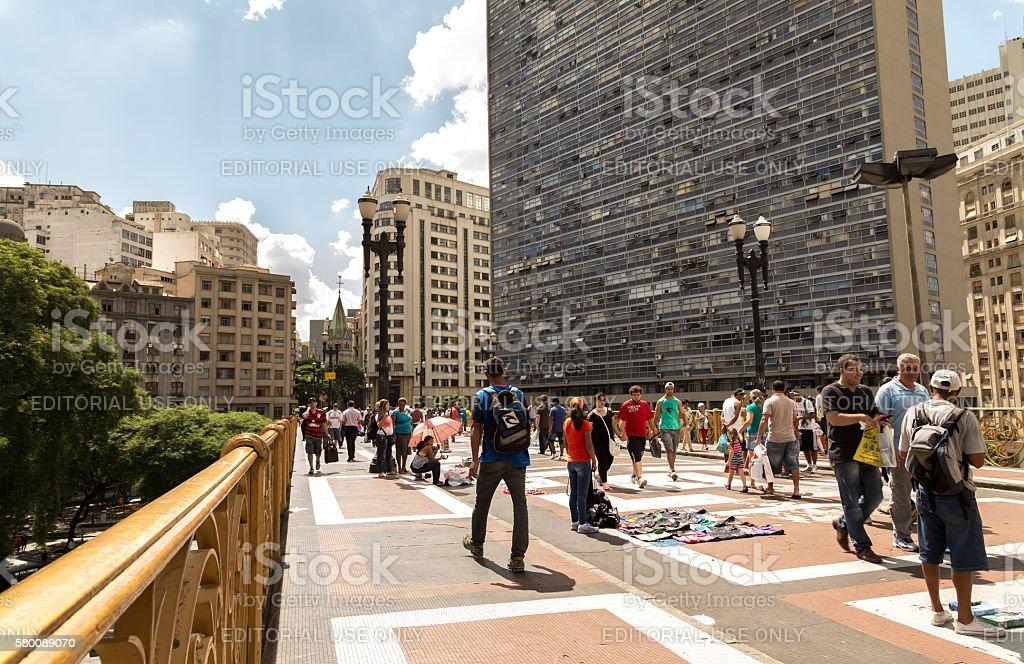People walk in Santa Ifigenia viaduct in Sao Paulo, Brazil stock photo