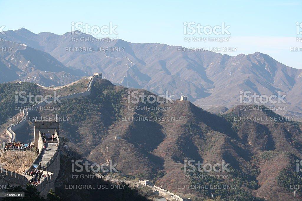 People walk on Great Wall of China close to Badaling royalty-free stock photo