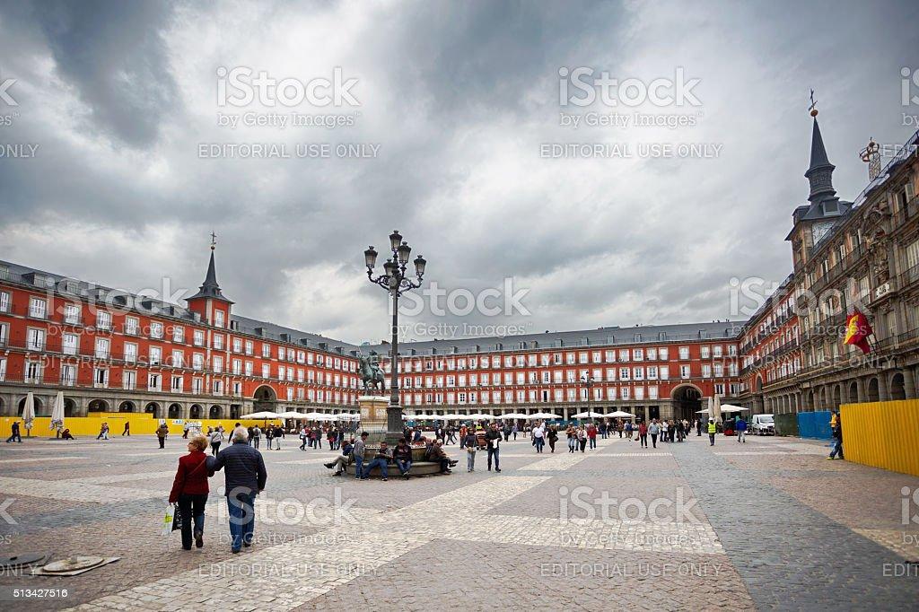 People walk on the Plaza Mayor stock photo