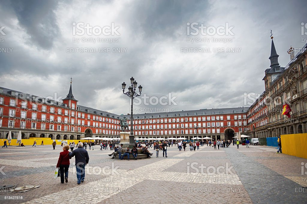 People walk on the Plaza Mayor stock photo