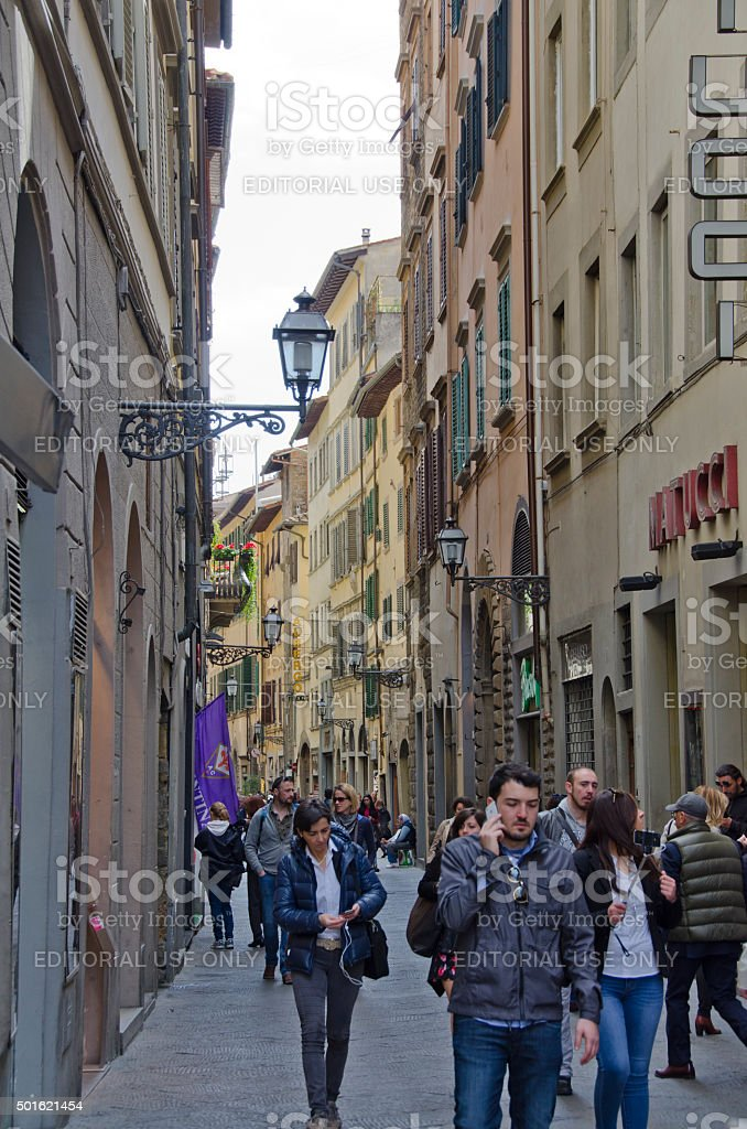 People Walk the Streets of Florence, Italy stock photo