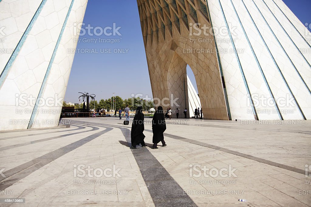 People walking about in Azadi Square, Tehran royalty-free stock photo