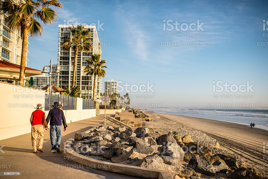 People walking along Coronado beach, USA stock photo