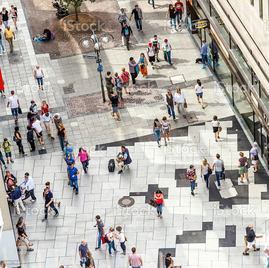 People walking along the Zeil stock photo