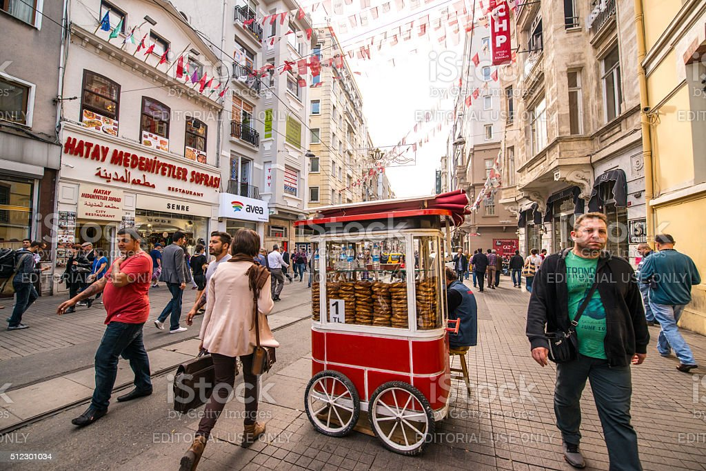 People walking and shopping on Istiklal Avenue, Istanbul stock photo
