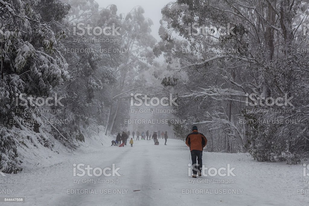 People walking and tobogganning up the snow covered road stock photo