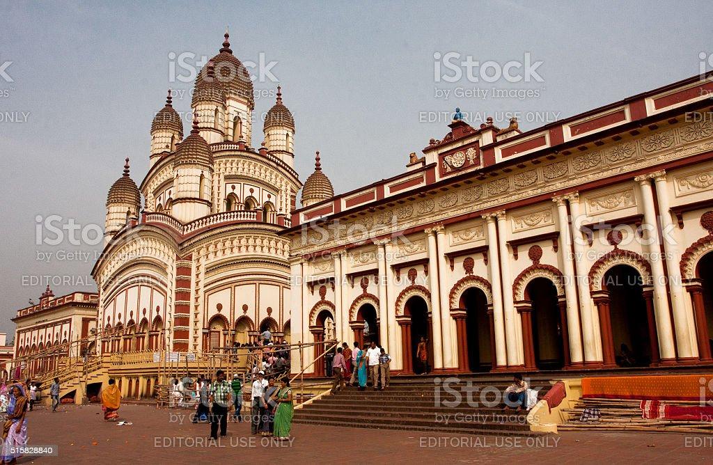 People walking around famous Kali Temple stock photo