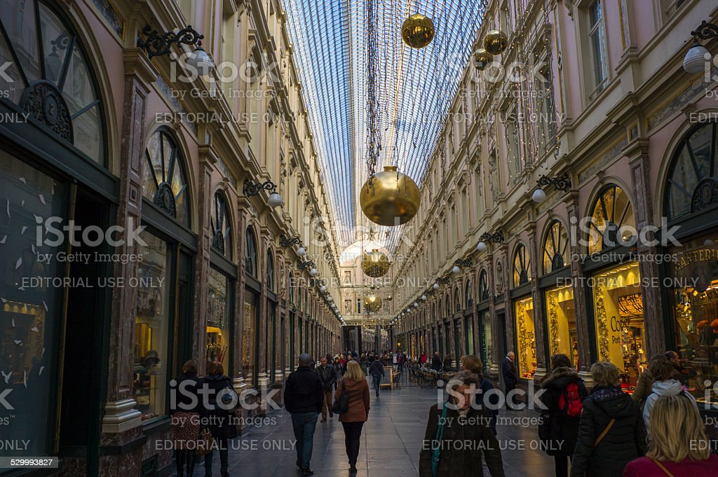 people walking at galeries royales st hubert in brussel belgium stock photo