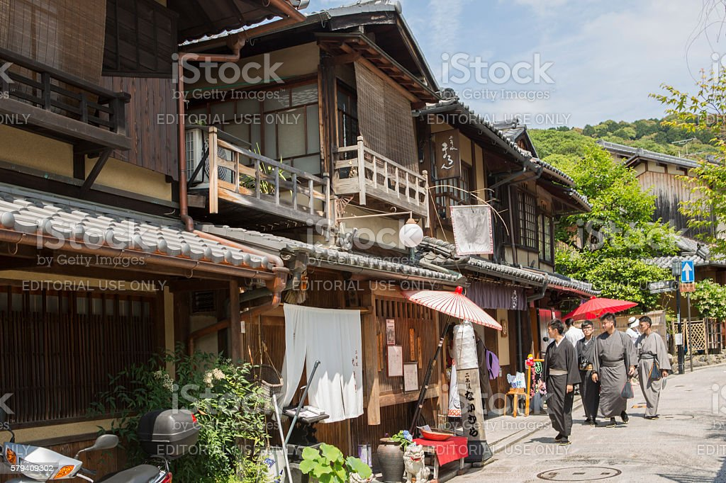 People walking at narrow streets of oldtown gion kyoto japan stock photo