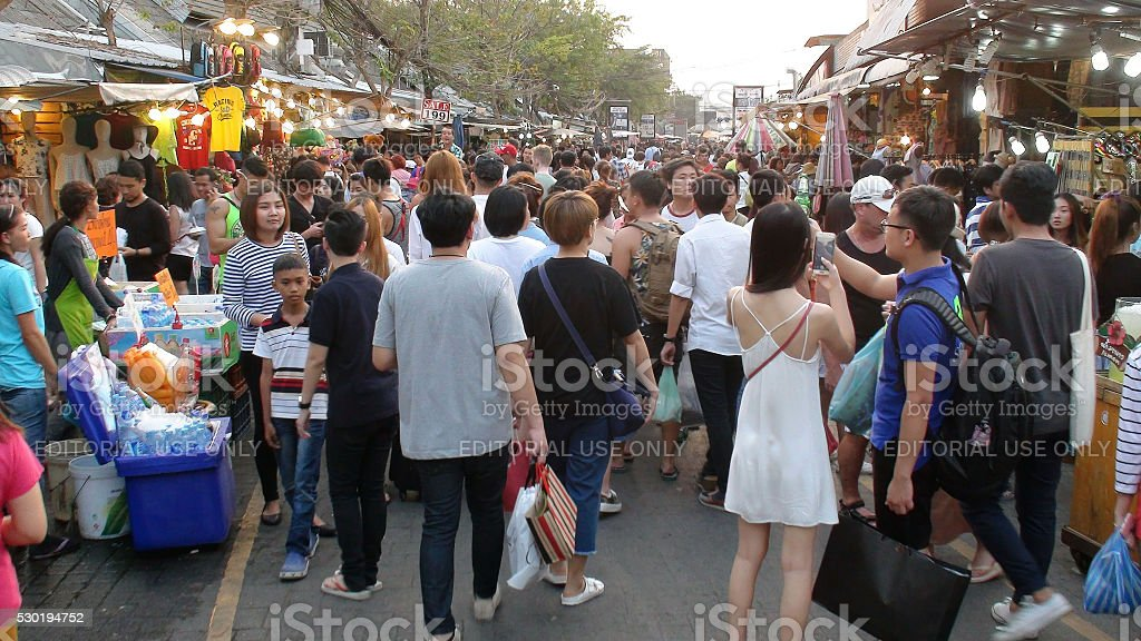 People Walking Back And Forth At Chatuchak Weekend Market.Bangkok.Thailand stock photo