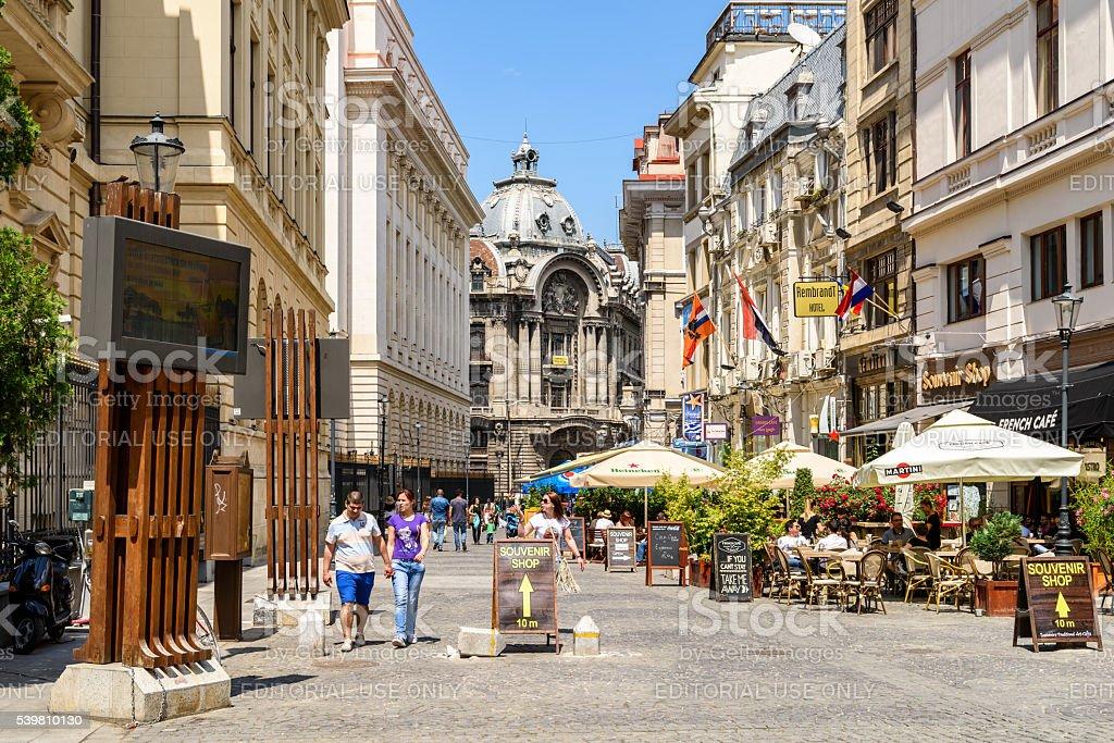 People Walking Downtown Lipscani Street In Bucharest stock photo