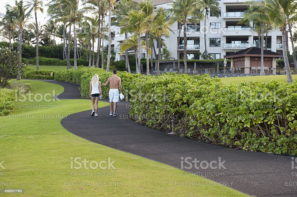 People Walking For Exercise stock photo