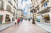 people walking in a famous commercial street in Zaragoza.