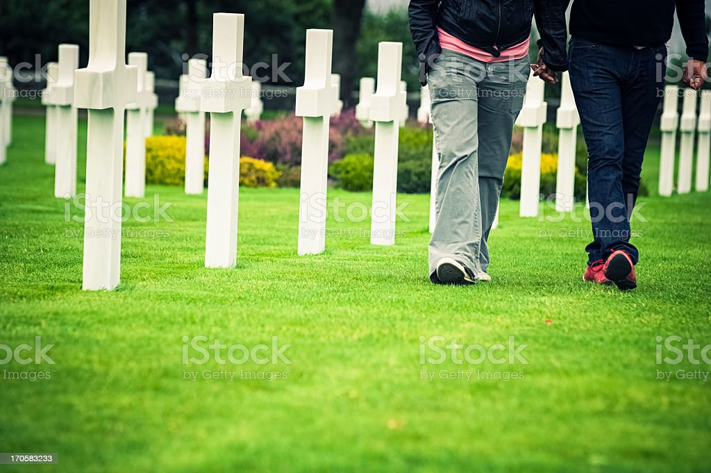 People walking in American soldiers cemetery, Normandy stock photo