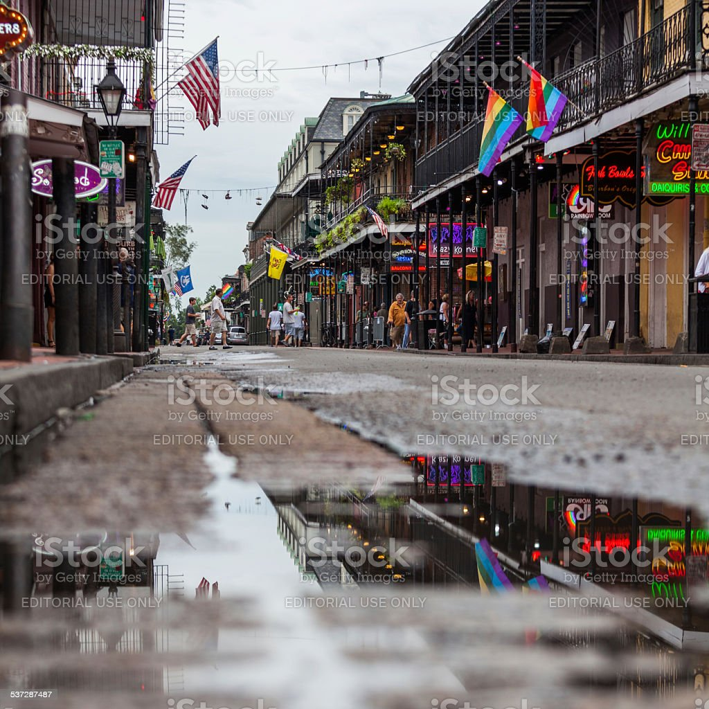 People Walking in Bourbon Street, New Orleans, USA stock photo