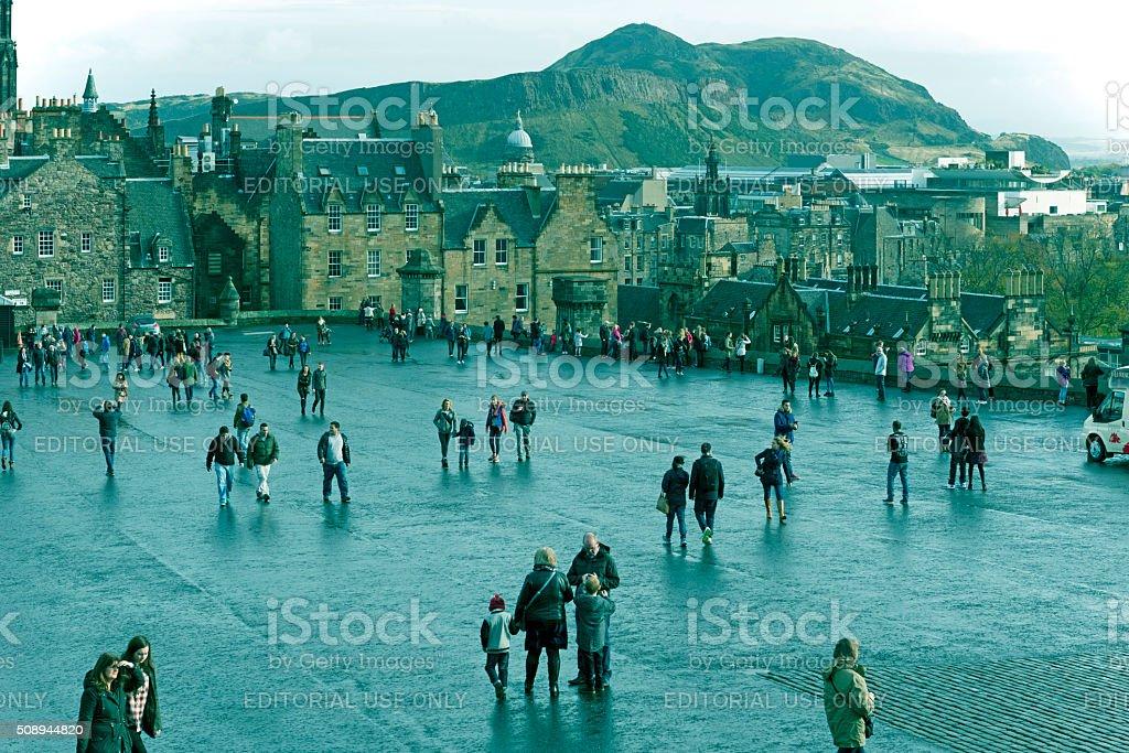 People walking in Castle Square in Edinburgh Scotland stock photo