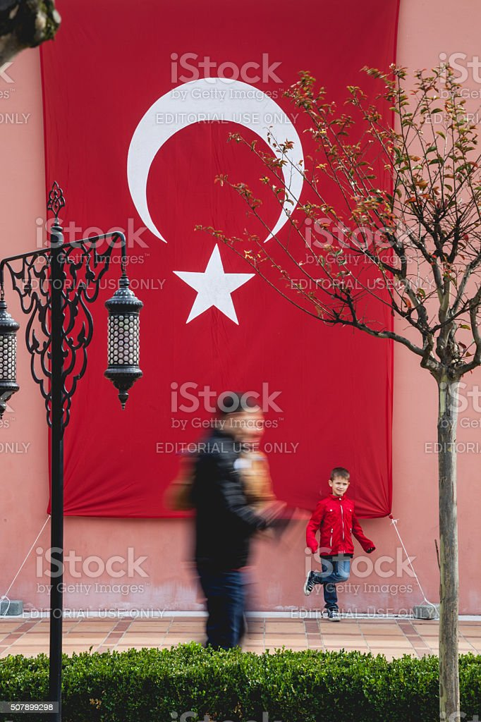 People walking in central Istanbul on the Republic Day stock photo