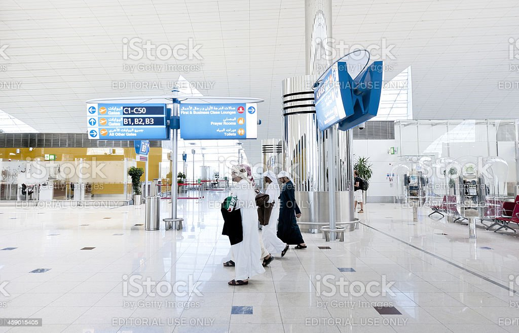 people walking in contemporary airport lounge royalty-free stock photo