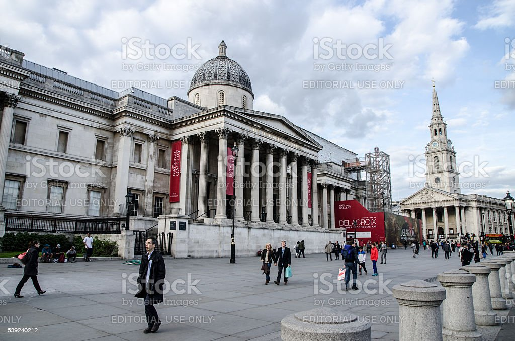 People walking in front of London National Gallery stock photo