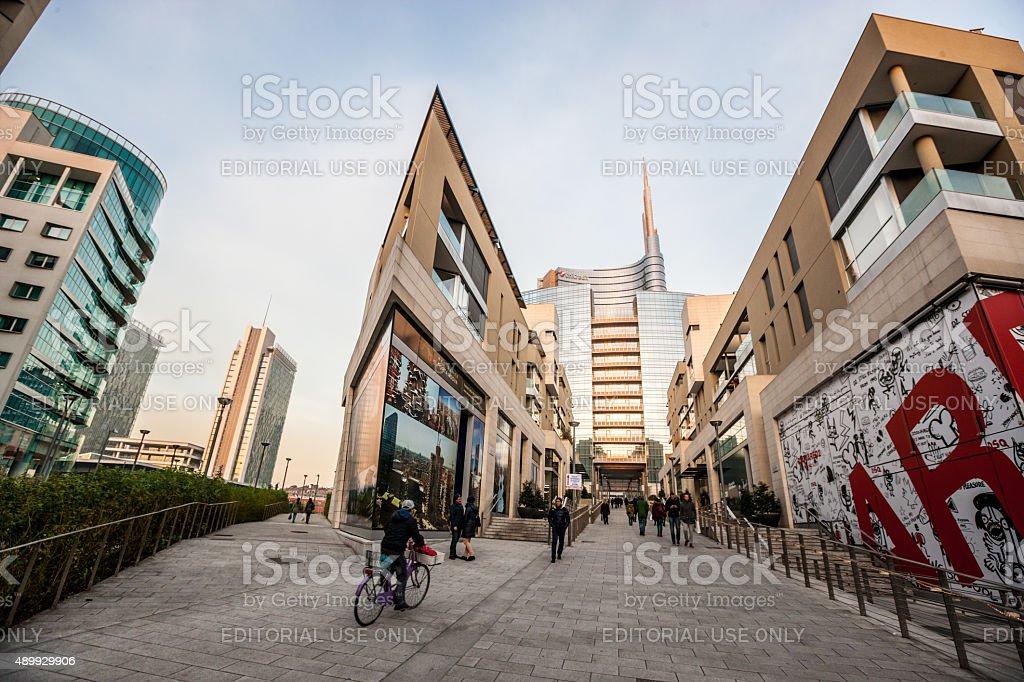 People walking in modern Milan district Porta Nuova stock photo