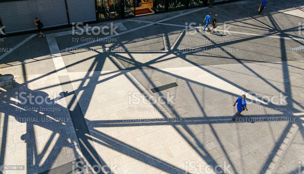People Walking In Naples Metro Station stock photo