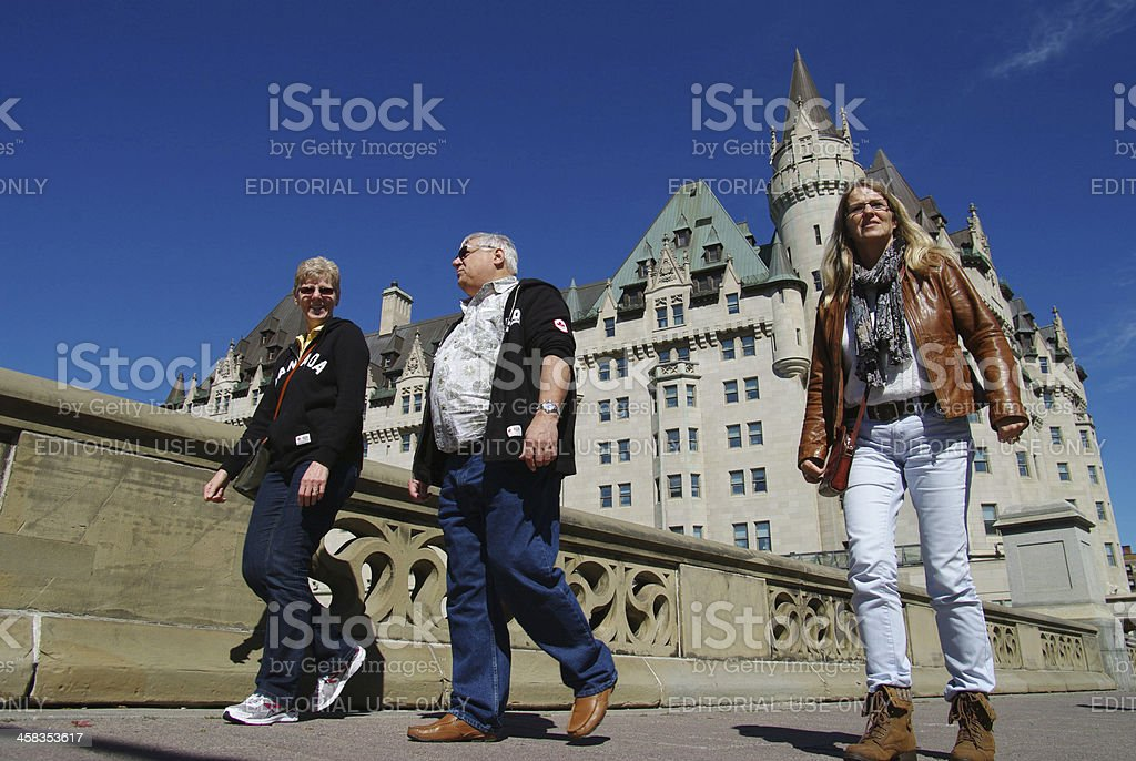 People walking in Ottawa city stock photo