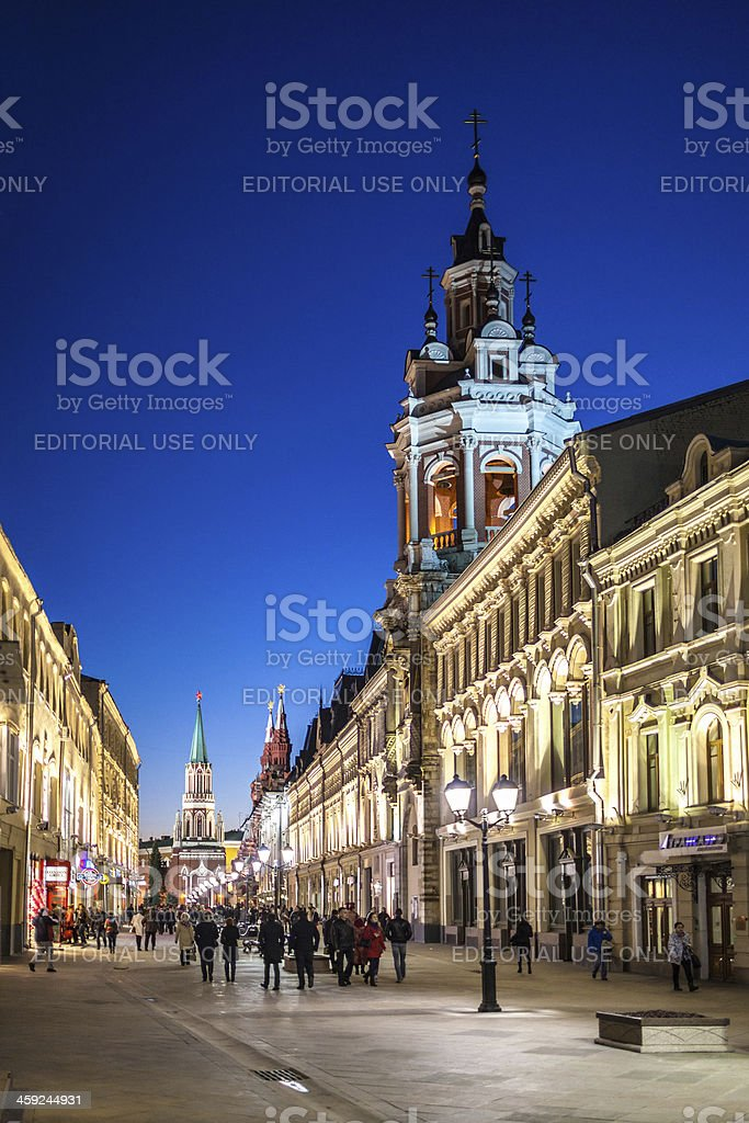 People walking in the center of Moscow stock photo