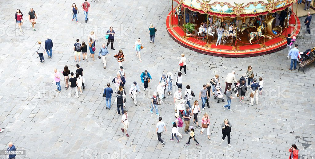 People walking in the city. Aerial View. Florence stock photo